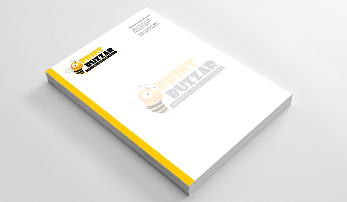 Print Buzzer Letter Head Brand Collateral Design