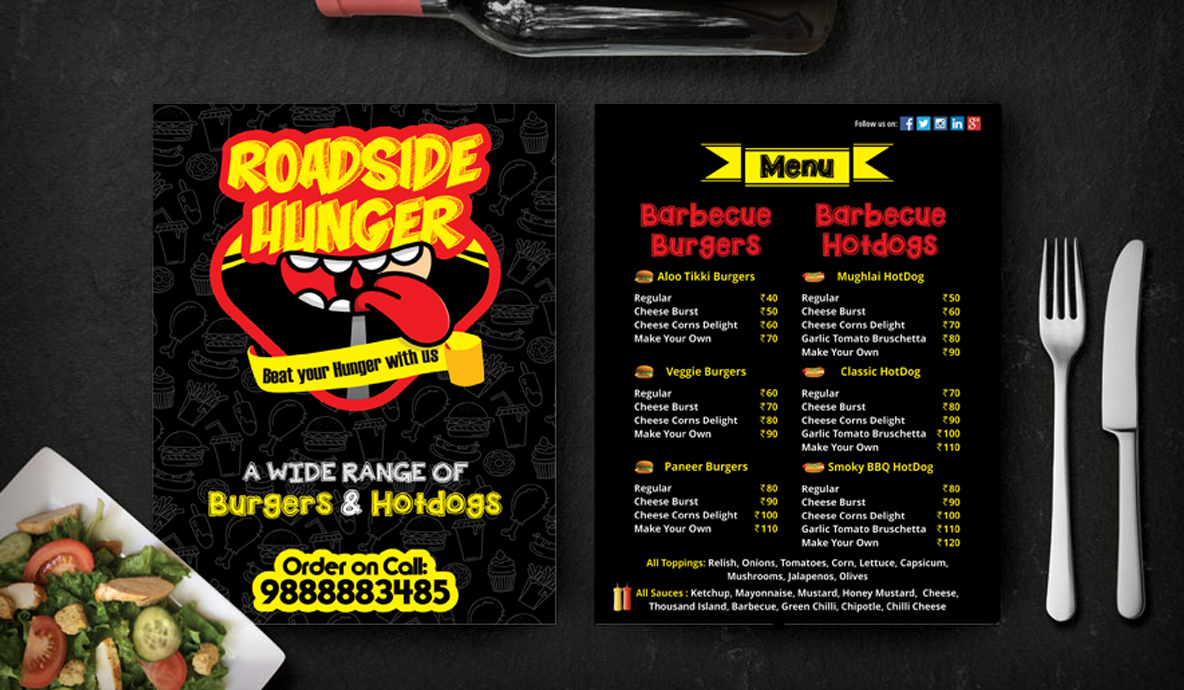 menu card road side hunger