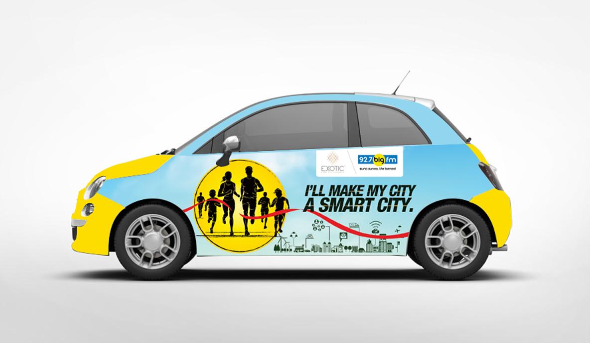 marathon branding car mockup