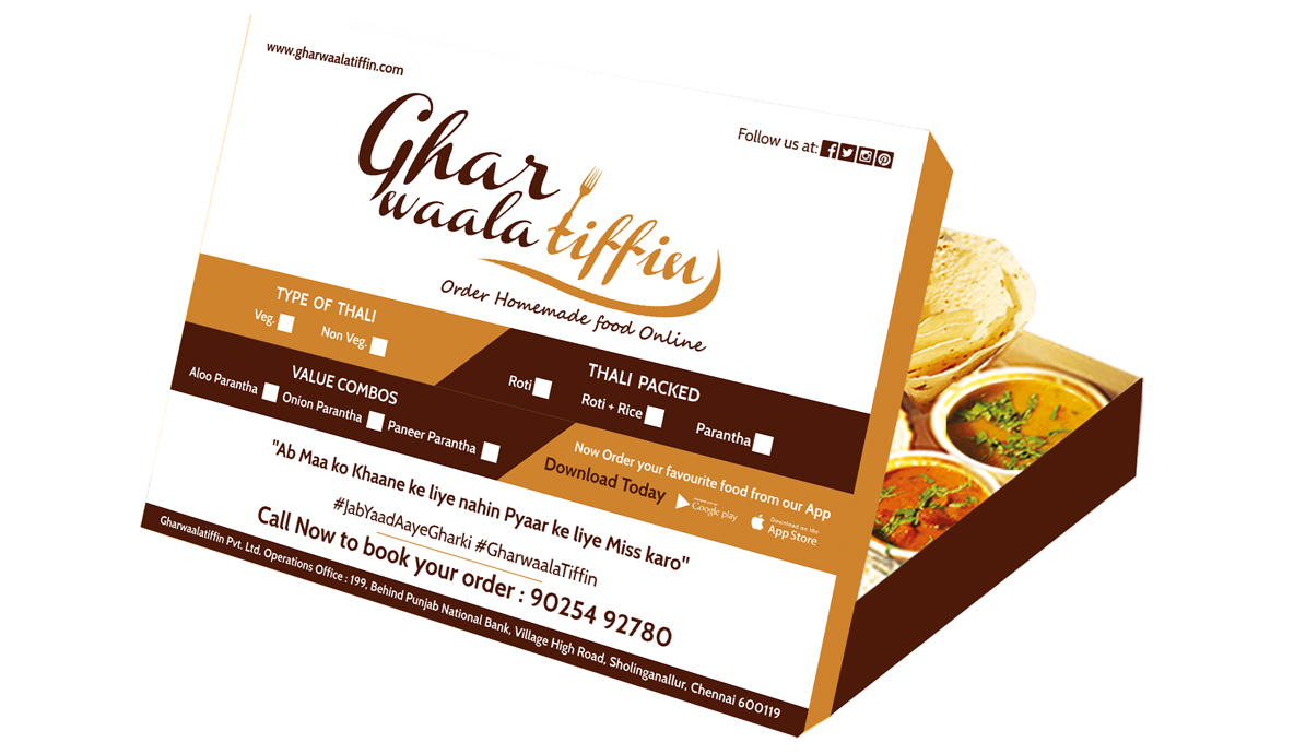 Ghar Waala Tiffin Packaging Design